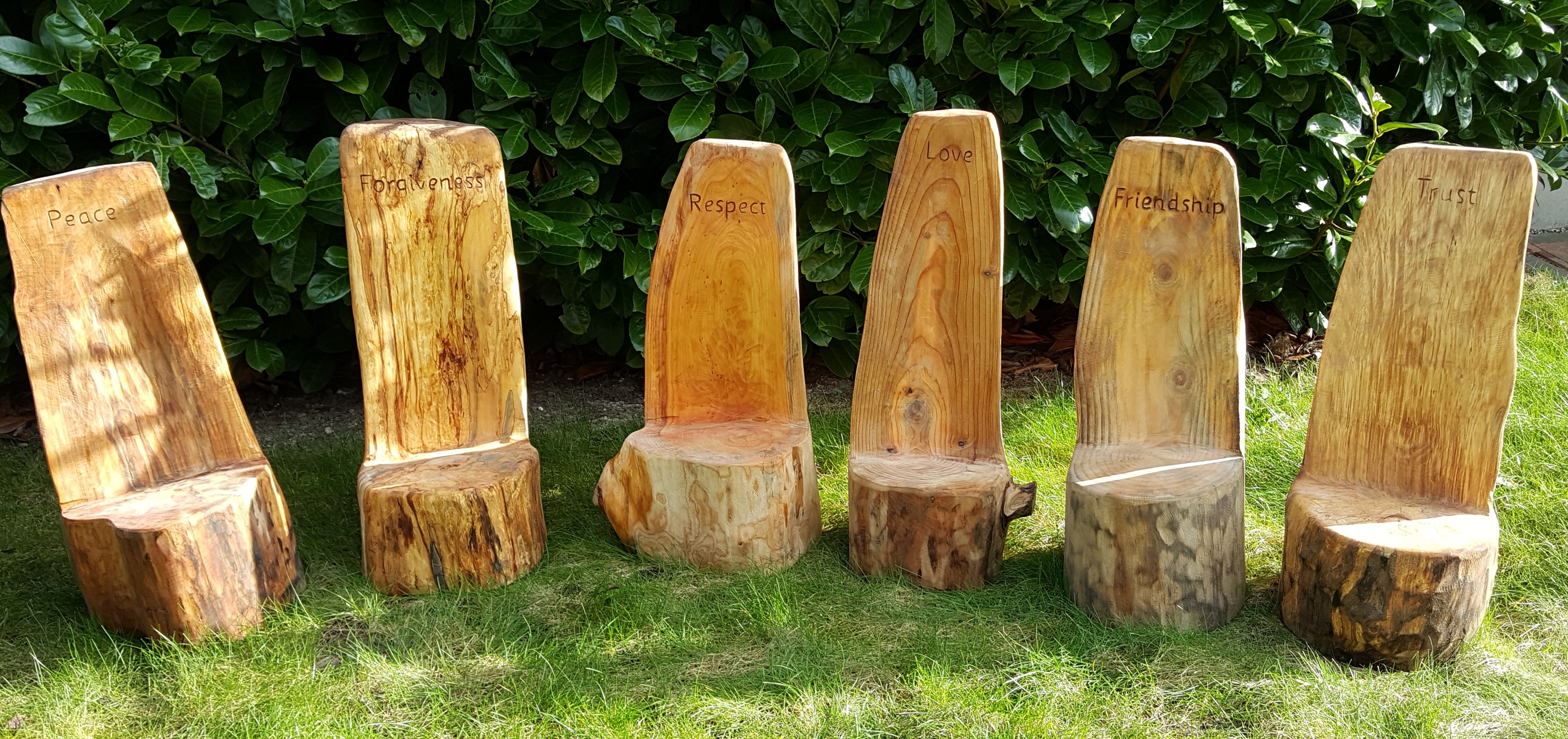 Forest school set of core value chairs bruks tree